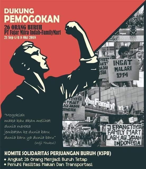 Menolak PHK Sepihak terhadap Buruh Gudang FamilyMart; Pemogokan 18 Hari Buruh Gudang FamilyMart