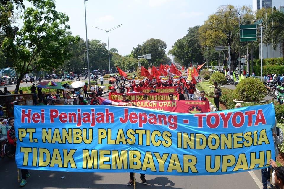Pernyataan Sikap May Day 2018: Tolak PHK Buruh Pemasok Toyota di PT Nanbu Plastics Indonesia