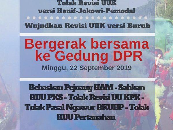 Tolak Revisi UU Ketenagakerjaan versi Hanif-Jokowi-Pengusaha, Wujudkan Revisi versi Buruh